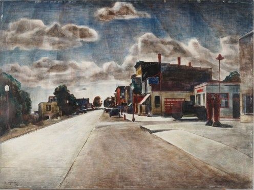 "Zoltan Sepeshy, ""The Whole Town,"" 1947, egg tempera on Masonite, Dallas Museum of Art, Dallas Art Association Purchase, 1950.92"