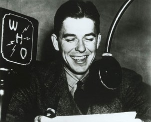 Ronald Reagan as a WHO Radio Announcer in Des Moines, Iowa, 1934-37. Courtesy Ronald Reagan Library.