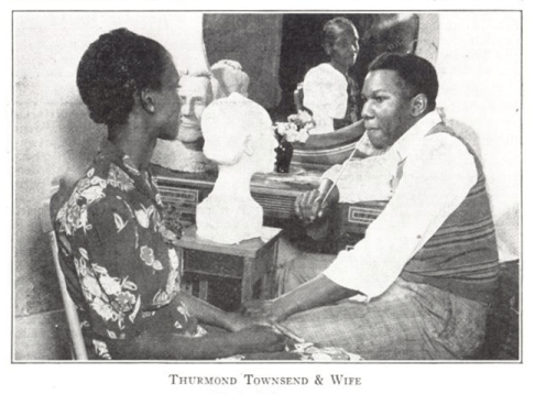 Artist Thurmond Townsend observes wife while he works on a sculpture of her
