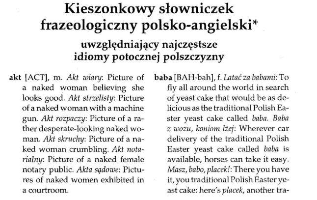 Barańczak, słownik, idiomatoły