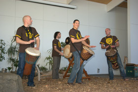 Dance troupe Nimba play their drums at Words on a Wing.