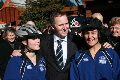 Prime Minister John Key with cyclists