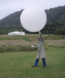 Releasing a hydrogen weather balloon on Raoul Island.