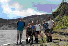 Raoul team in front of crater lake.