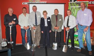 Minister of Conservation Kate Wilkinson with some of the Rugby Legends.