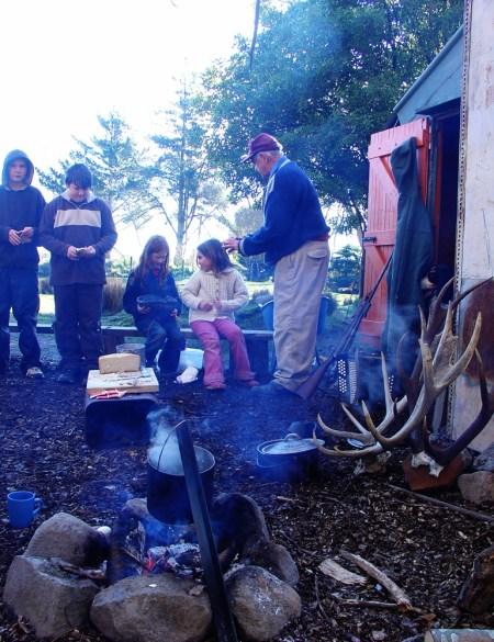 Children hear a tale or two from old deer culler Bill Scott 2006.