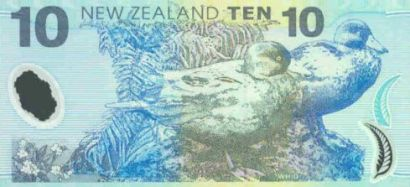 A New Zealand $10 bank note with the Whio/Blue duck.