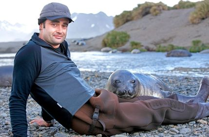 Rob Suisted with a South Georgia elephant seal pup.