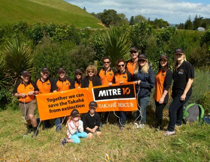 Mitre 10 staff and family at takahe release on Motutapu.