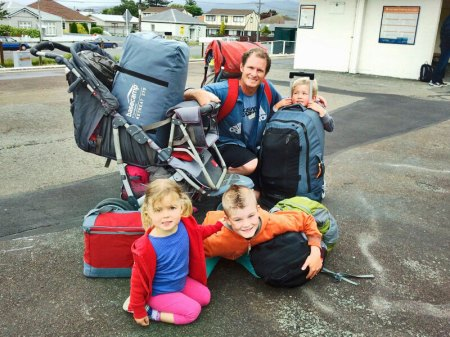 My family at the railway station waiting for the train to take us into town where we would be catching our ferry to Matiu Somes