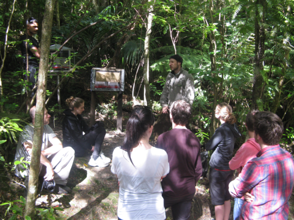 The interns listen to Ranger Eric talk about the feeding programme on the Island. Photo by Pete Hiemstra.