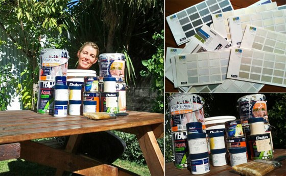 Three images: Elizabeth surrounded by her personal collection of Dulux paint pots, an image of Dulux paint pots stacked on top of one another and an image of Elizabeth's collection of paint swatch cards.