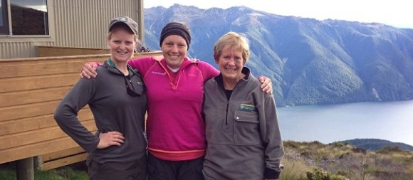 Great Walker Stephanie Hathaway with DOC rangers on the Kepler Track.