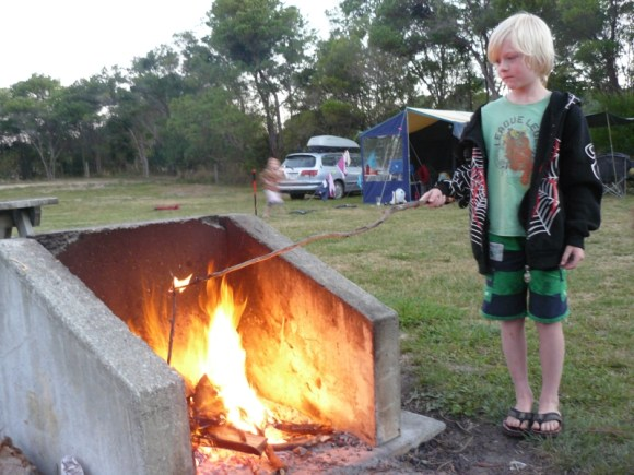 Roasting marshmallows at Totaranui campground.