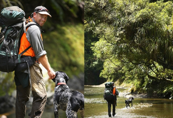 Andy and dog Neo walking in Te Urewera National Park.