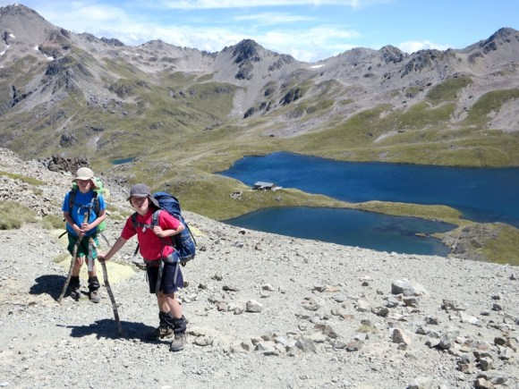 Tramping and overlooking Lake Angelus and the Hut.