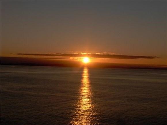 Sun setting over the East Coast.