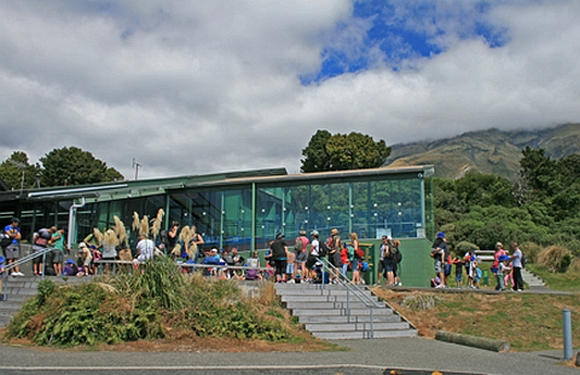 Students line up outside the North Egmont Visitor Centre.