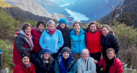 The Fiordland National Park Visitor Centre team above Doubtful Sound.