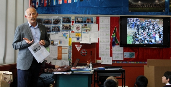 Gareth talking to seniors at St Mark's Church School. Photo from St Mark's Church School.
