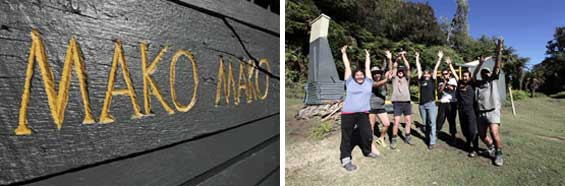 Left: Group jumping for joy. Right: Makomako Hut sign.