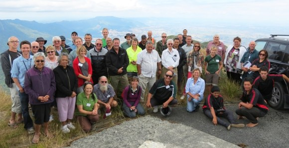 Claudia with the Kaimai Catchment Forum members on Mt Aroha.
