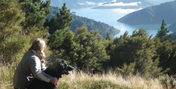Siobain and her dog overlooking some of the islands in the Sounds.