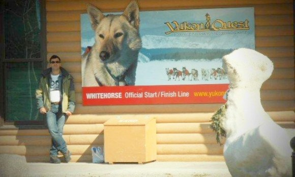 Stacey outside the Yukon Quest building.