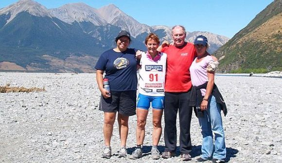 Carolyn and her support crew after the Coast to Coast race.