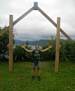 Robyn Crisford at the end of the Lake Waikaremoana Great Walk.