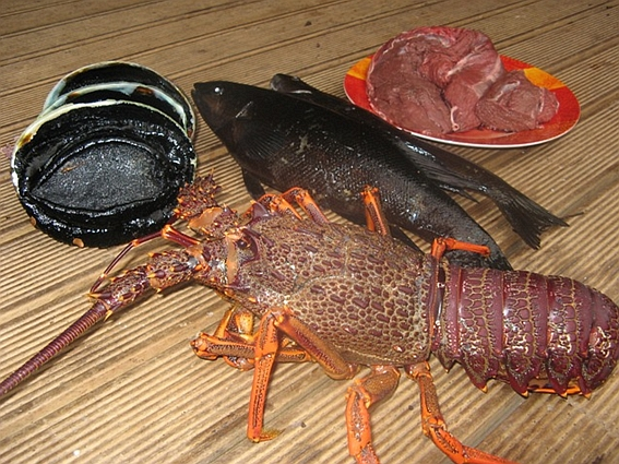Assortment of seafood and steak.