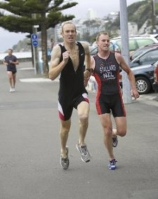 Mark Anderson running on the Wellington waterfront.