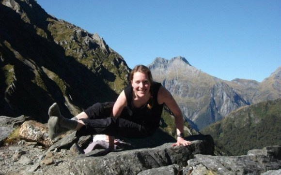 Kaja Vetter doing yoga in Mt Aspiring National Park.