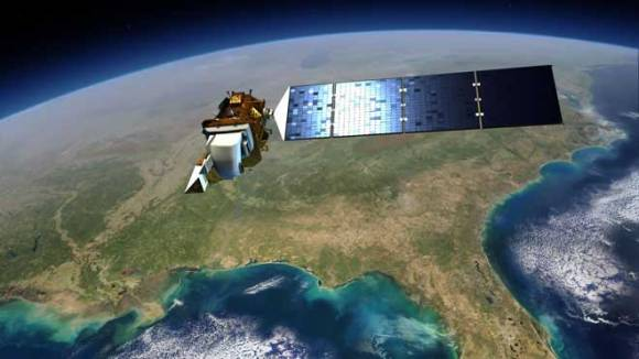 Artist's rendition of Landsat 8 in orbit. (NASA).