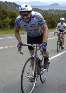 Greg riding during the Taupo Cycle Challenge.