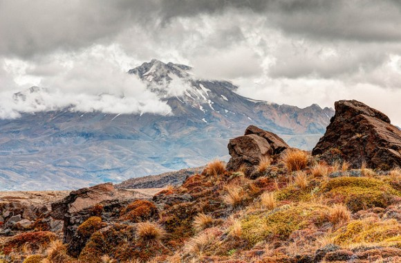 Mt Ruapehu, as seen on Tongariro Northern Circuit. © All rights reserved by panafoot.