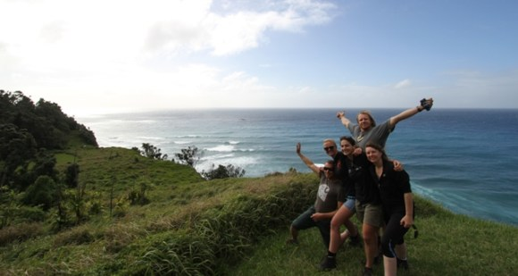 Neil and his team on Raoul Island.