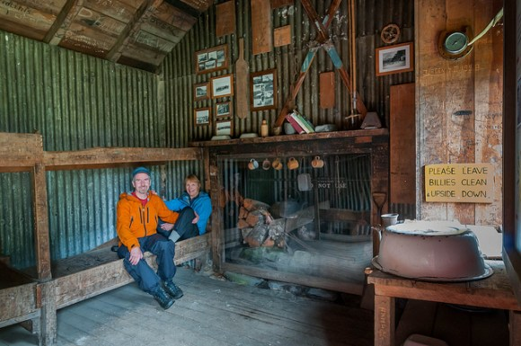 John and Jean in the old Waihohonu Hut on Tongariro's Northern Circuit. © All rights reserved by panafoot.