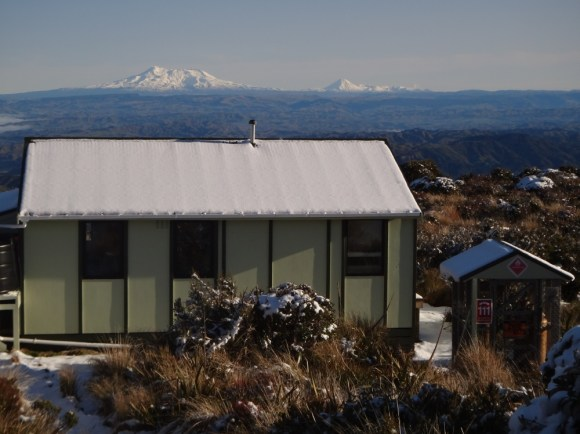 Rangiwahia Hut looking across to the Central Plateau.