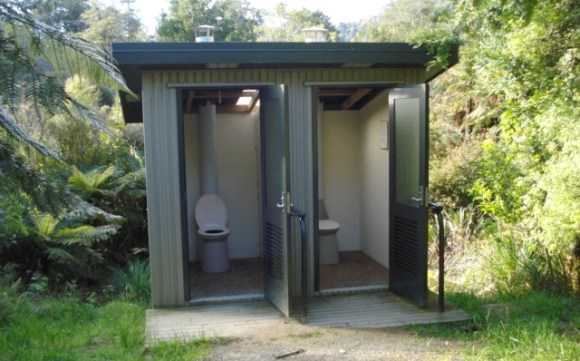 Toilet facilities at Waitawheta Hut near Tauranga.