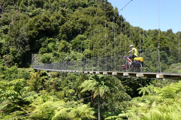 Riding across Mangatukutuku Bridge.