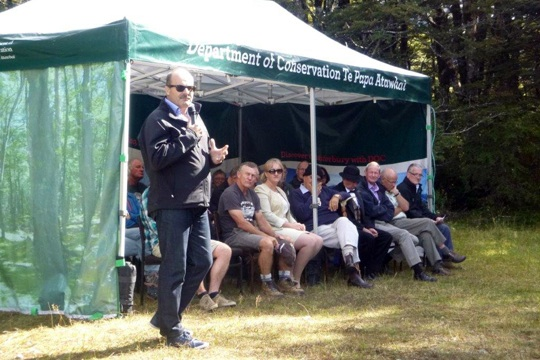 DOC Director-General, Lou Sanson, speaking at the official opening of the Arthur's Pass walking track.