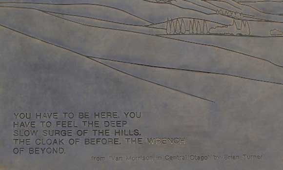 Brass plaque with Van Morrison quote. Photo: dubh   CC BY-NC 2.0.
