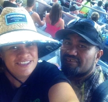 Trudi and partner Bennet at the Auckland Nines.