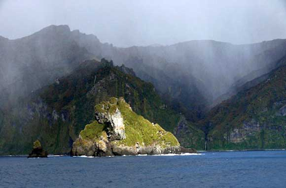 The wild coast of Gough Island the most significant seabird island in the Atlantic.