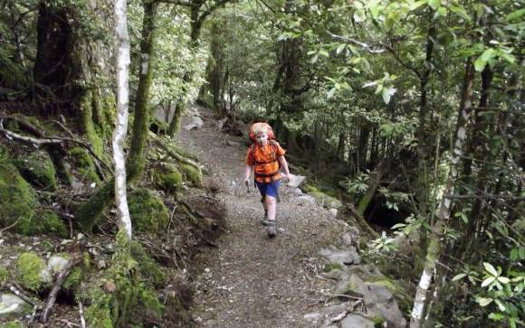 Eight-year-old Fenn walking the Rangiwahia Hut Track.