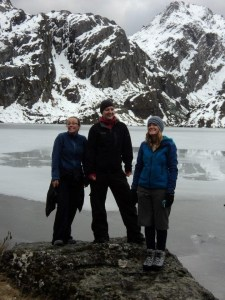 Susie and friends at a frozen lake on the Routeburn Track.