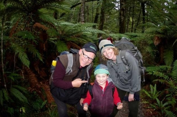 Caroline and her son with the 'Bugman'—Ruud Kleinpaste.
