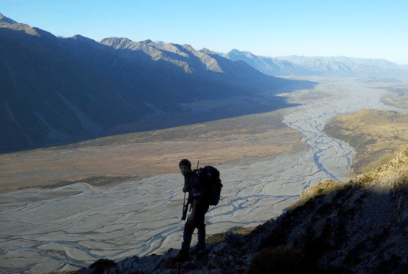 Hunting tahr up the mighty Rakaia River.