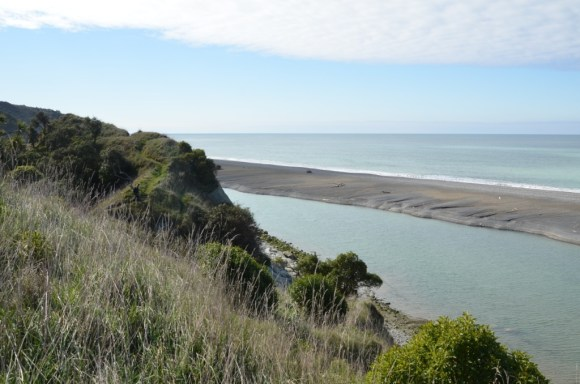 The start of the Manuka Bay Walkway at the Hurunui River mouth.